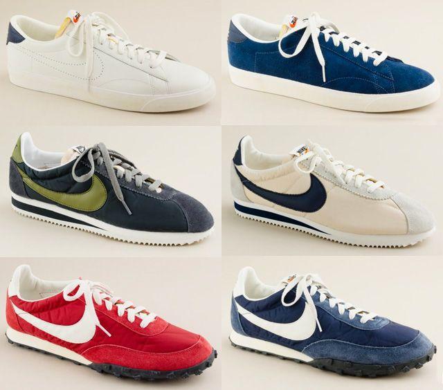 Il s'agit de Nike Tennis Classic, Nike Cortez et de Nike Waffle Racer.  Découvrez chaque paire dans la suite. j-crew-nike-vintage-collection8