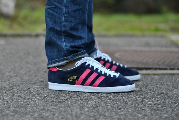 gazelle adidas rose et bleu