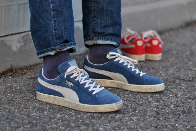 puma suede vintage bleu