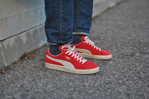 puma suede rouge blanche
