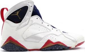 Nom : Air Jordan OG 7 Olympic Code couleur : White/Midnight Navy/True Red  Code produit : 130157-110. Date de sortie : Été 1992