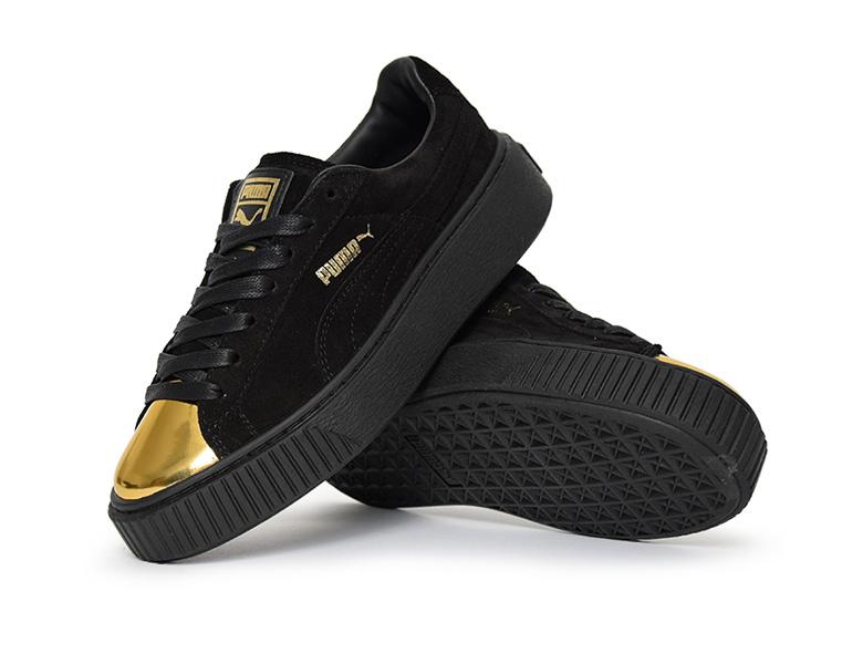 puma suede platform gold noir