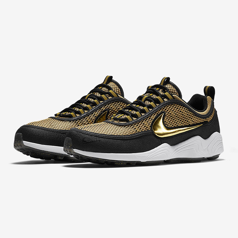 nike air zoom spiridon black gold sneakers. Black Bedroom Furniture Sets. Home Design Ideas