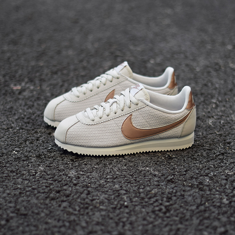 nike w cortez leather lux beige bronze sneakers. Black Bedroom Furniture Sets. Home Design Ideas