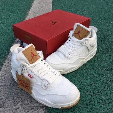 buy popular cdb08 7ff13 Levi s x Air Jordan 4 « White »